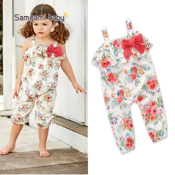 Baby Clothes Girl's Floral Jumpsuit Suspender Trousers Pant Cotton Blend Flower Print Kids Summer Outfit Jumpsuits Rompers