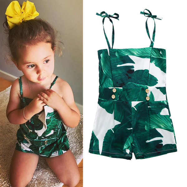 Fashion Style Baby Girls Rompers Green Summer tank tops Newborn Clothing Infant Girl Printed Jumpsuits Baby Costume Clothes 3-24M