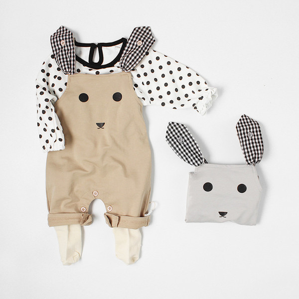 Hot Sale Cute Infant Rompers Baby Girls Clothing Cartoon Rabbit Head Cotton Newborn Strap Jumpsuits Baby Boys Clothes
