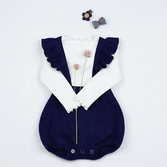 2018 Spring New Arrival Infant Bodysuits Sweaters Knitting Straps Rompers For Girls Princess Newborn Jumpsuits Baby Girl Clothing Set Suit