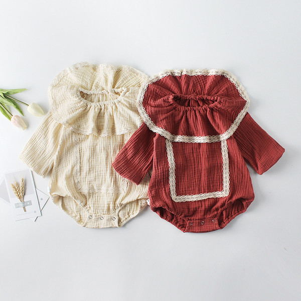 Wholesale Cheap Spring Baby Girls Clothes Cotton Bodysuits Ruffle Collar Long Sleeve Lace Jumpsuits Rompers Newborn Toddler Clothing 0-18M