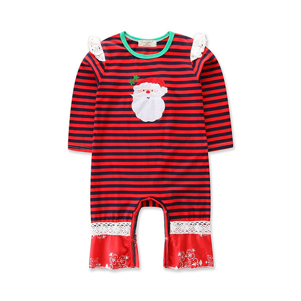 Wholesalers Baby Girls Clothing 12 months Father Christmas Costumes Cotton Baby Girl Red Striped Long Sleeve Jumpsuits Rompers for Babies