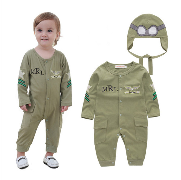 Spring Autumn Baby Clothes Cotton Long Sleeve Baby Boy Clothes Jumpsuits Headgear 2pcs Infant Rompers Baby Clothing Army Green