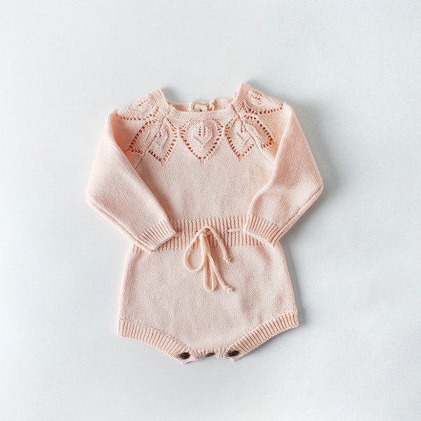 New Toddler Girls Clothing Bodysuits Full Sleeve Lace Up Infant Rompers Jumpsuits Pink Hollow Out Knitted Sweaters Spring Baby Girls Clothes
