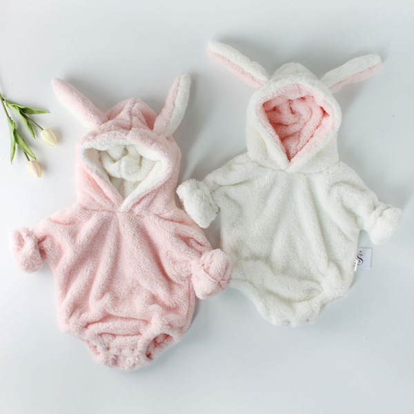 New Arrivals Baby Girls Clothes Hooded Bodysuits Cute Rabbit Ear Long Sleeve Baby Jumpsuits Rompers Corduroy Warm Winter Newborn Clothing