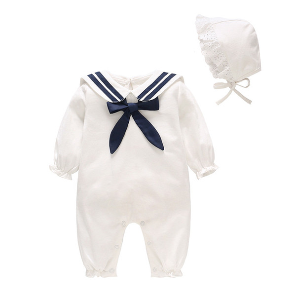 children's clothing 2019 spring newborn clothes white navy wind baby onesies infant jumpsuit long-sleeve romper with cap