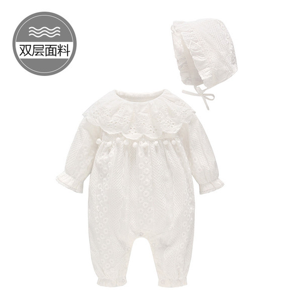 Children's Wear Spring and summer New Baby White Lace Cotton Baby jumpsuit infant girl's long-sleeve mandarin sleeve romper and hat suit