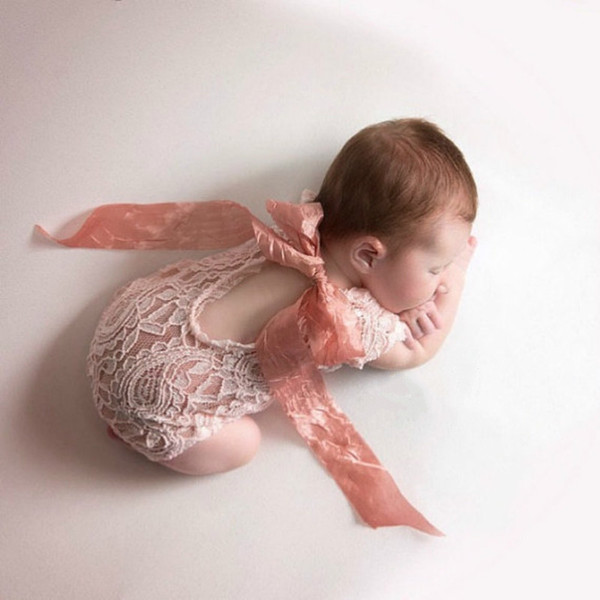 Newborns Jumpsuit Bow Ribbons Lace Conjoined Clothes Photography Lace Suit Short Sleeve Solid Color Romper