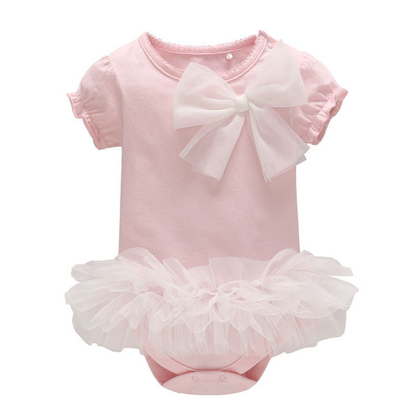 Children's buckle shoulder jumpsuit girls TUTU Pink Mesh Skirt Infant Baby Sweet Cute Bowknot Short Sleeve Baby Jumpsuit Rompers kids cloth