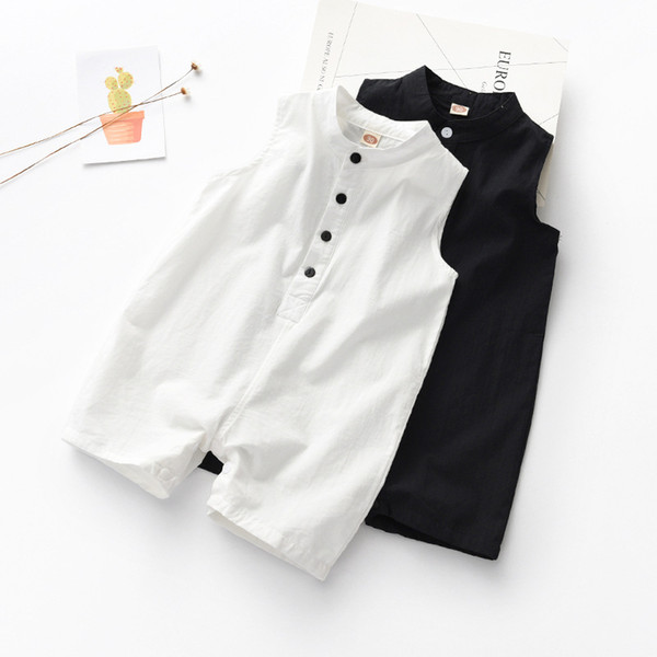 Children's wear baby onesies Solid vests clothes cotton casual boy's Sleeveless jumpsuit 0-3 climbing clothes girl's Mandarin Collar romper