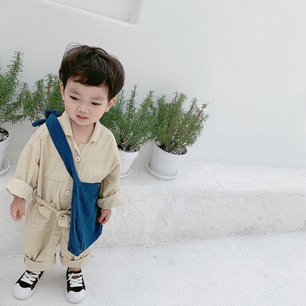 Spring Baby Clothes Boys Jumpsuit Long-sleeved Corduroy Korean Corduroy Romper Children's Solid Turn-down Collar Jumpsuit