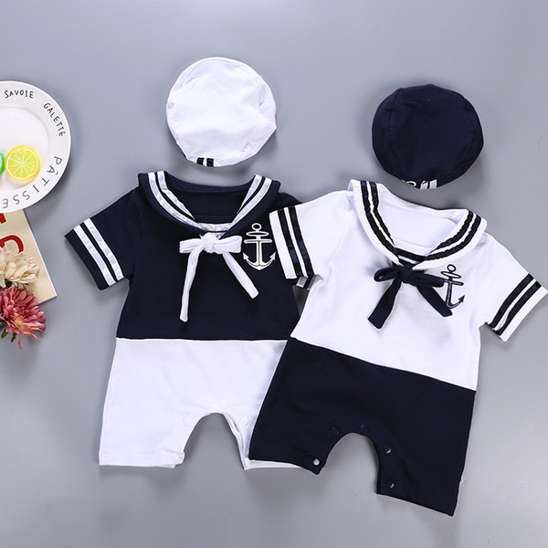 Summer New Baby Romper Infant Baby Clothes with Headband 2 Piece Set Children's Short Sleeve Sailor Suit Jumpsuit