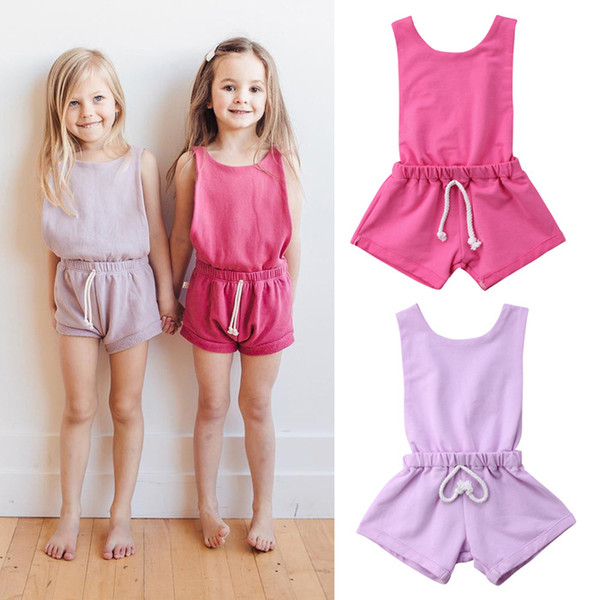 Ins children's jumpsuit solid color summer female baby onesies candy color straps backless jumpsuit romper