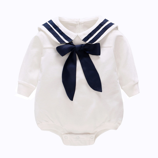 Children's Wear 2019 Spring New White Navy Wind Baby One Piece Cotton Long Sleeve Triangle Romper infant baby jumpsuit