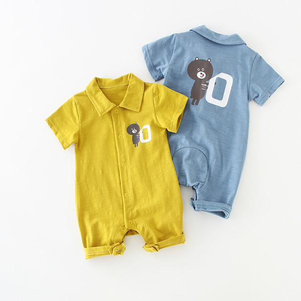 Infant Newborn Summer Thin Baby Jumpsuit Romper Korean Kid's Clothes Cotton Children's Solid Short Sleeve Jumpsuist