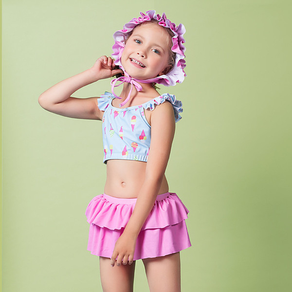 Swimsuit For Girls Kids 2019 Swimwear Children Child Female Bikini Baby Girl Bubble Split Skirt Cap Adult Animal Polyester