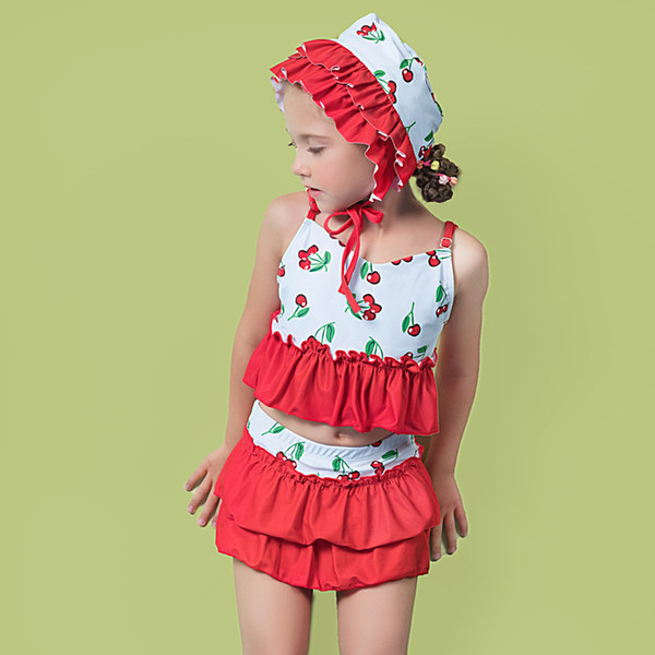 Children's Swimwear Baby Bikini 2019 Kids For Girls Child Female Girl Bubble Split Skirt Cap Adult Animal Polyester Sierra
