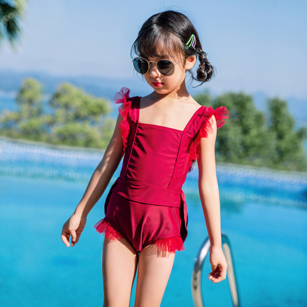 2019 Children One-piece Suits Bikini Set Kids Baby Girls Bowknot Princess Red Swimwear Swimsuit Bathing Suit Costume Clothing