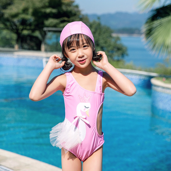 2019 Children One-piece Suits Bikini Set Kids Baby Girls White Swan Swimwear Swimsuit Bathing Suit Costume Clothing