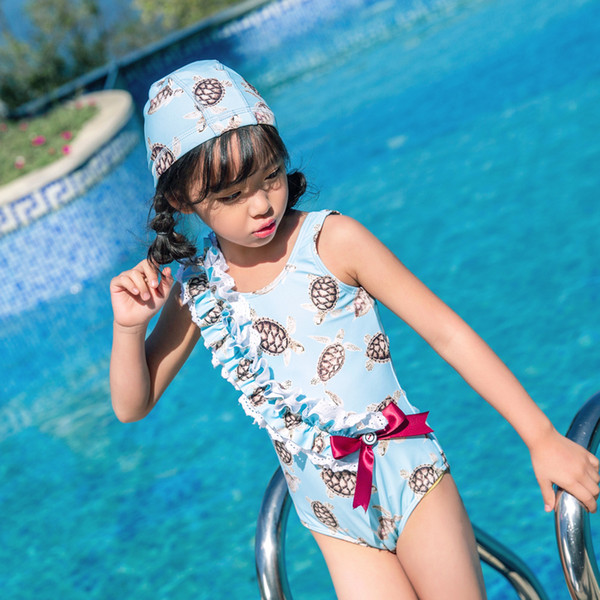 2019 Children One-piece Suits Bikini Set Kids Baby Girls Bowknot Little Turtle Swimwear Swimsuit Bathing Suit Costume Clothing
