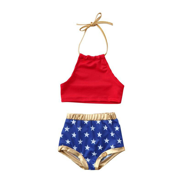 Toddler Kids Baby Girls 4th of July Bikini Set gold star full print Swimwear Swimsuit Bathing Suit