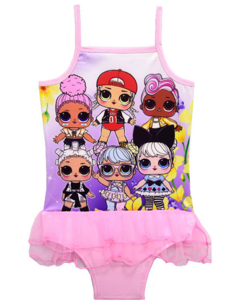 Cartoon dolls a girl's swimsuit foreign trade children's swimsuit children's one-piece gauze skirt 7959(5pcs/lot)