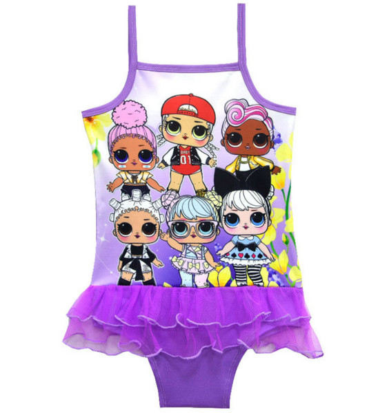 Cartoon dolls a girl's swimsuit foreign trade children's swimsuit children's one-piece gauze skirt 7958(5pcs/lot)