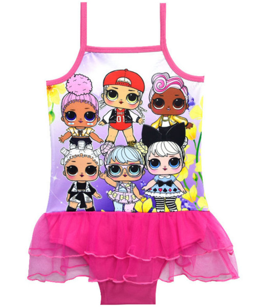 Cartoon dolls a girl's swimsuit foreign trade children's swimsuit children's gauze skirt 7960(5pcs/lot)