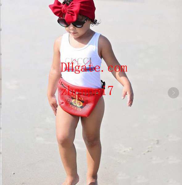 Ins best selling high end one -piece baby girls jumpsuits swimwear printing letter swimsuit kids beach clothing 2T-8T guc-336