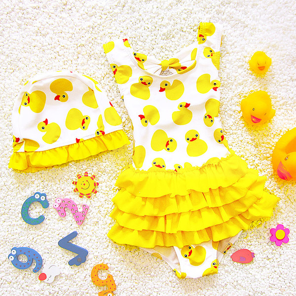 Yellow Duck Baby Swimming Clothing for Baby Girls Swimsuits Kids Bathing Suit Beachwear Swimwear Teenagers Children