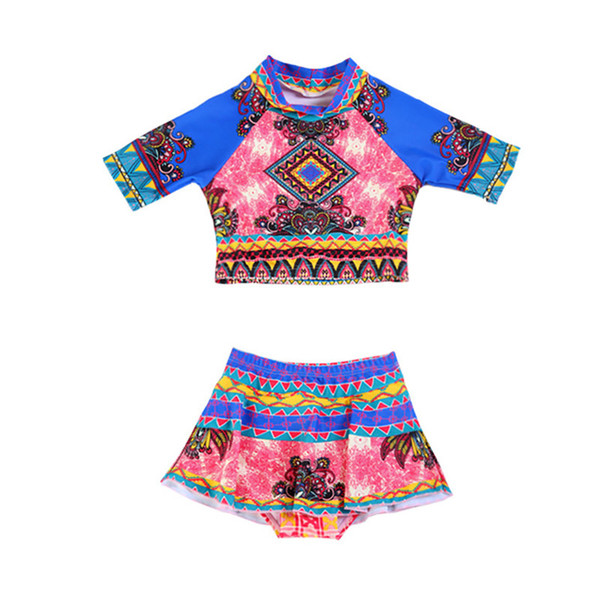 Colorful Printed Girls Swimwear Lovely Girl Swimming Suits Baby Bikini Set Kids Swimwear Children Bathing Suit