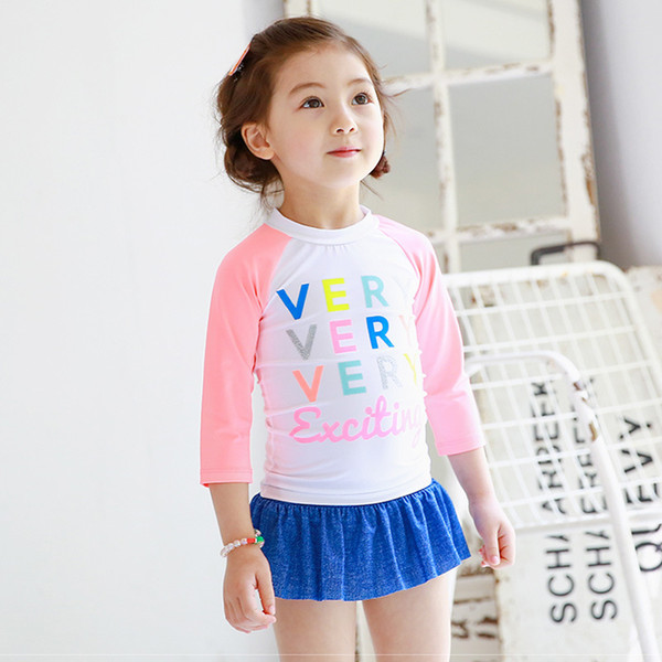 Letter Printed Girl Baby Swimwear Swim Set New Design Children Two-Pieces Swimsuits Long Sleeve Swimming Suits Free Shipping