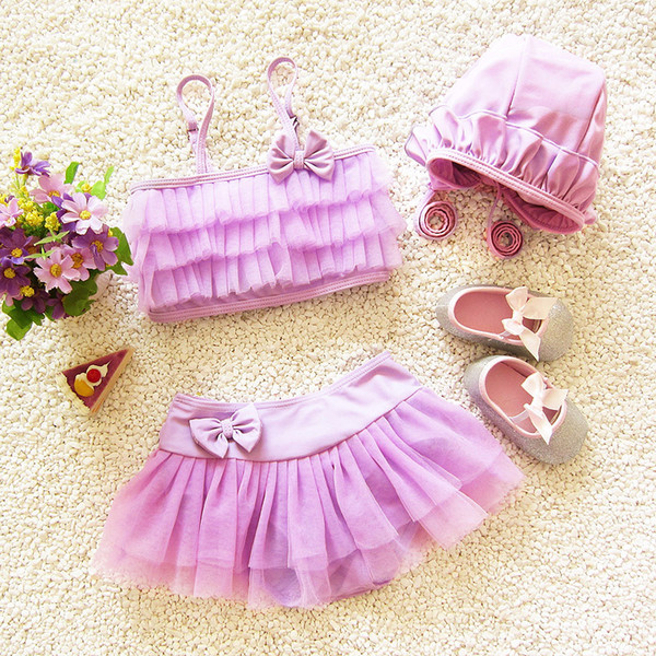 Baby Girls Bikini Swimsuit Children High Quality Kids Swimwear with Cap Lace Swimming Suits Baby Bikini Beachwear Free Shipping
