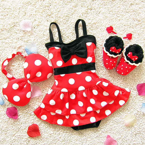 Children One-pieces Girl Bikini Summer Children Cute Cartoon Girls Swimwear Kids Beach Spandex Swimsuit With Hairband Bathing Suits