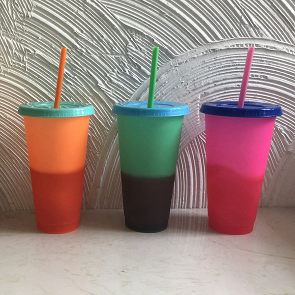 Plastic Detachable Cup Change Color Pages Water Bottles Insulated Tumblers Heat Protection Portable Water Cup With Straw 5colors RRA1751