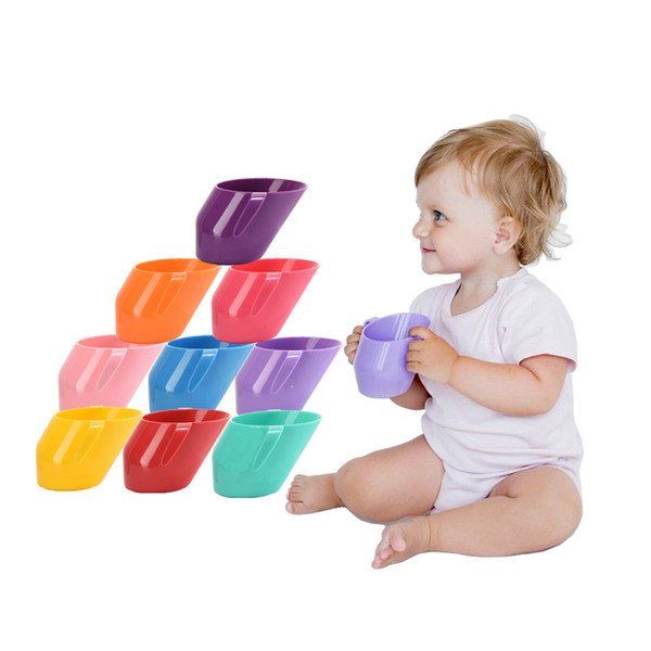 Baby Training Feeding Drink water Cup With Handle Bevel Mouth Safe Leakproof Cup Kids Water Bottle 10 colors C6809