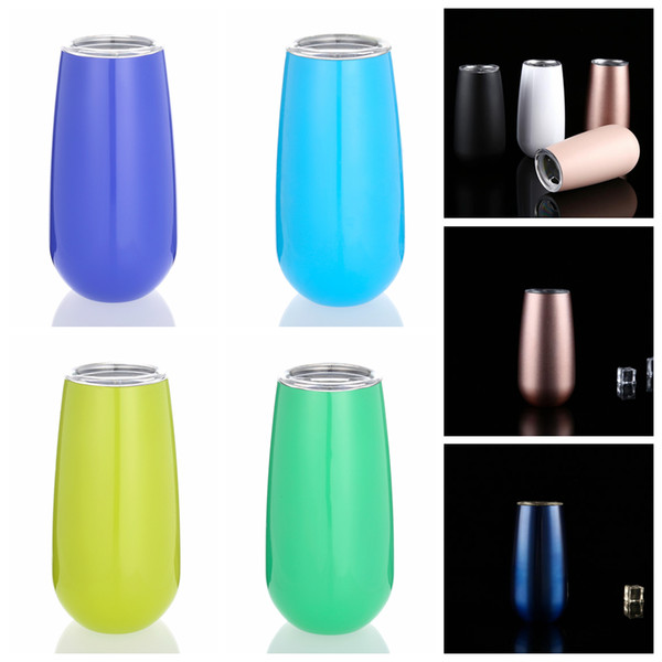 6oz Egg Cups Wine Glasses Tumblers 9 Colors Stemless Stainless Steel Double Walled Vacuum Insulated Mugs With Lid Kids Cup OOA5362