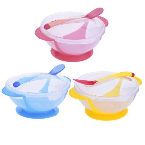 2019 New Arrival Baby Sucker Bowl Spoon Fork Set Anti-Slip Learning Dishes Children Training Solid Feeding Dishes Hot Sale