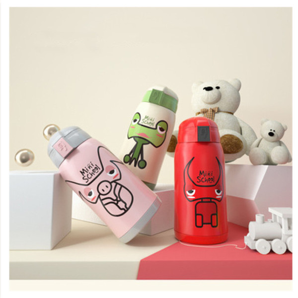 Babysing Feeding 500ML Cartoon Children Water Bottle Straw Thermos Stainless Steel Vacuum Water Bottle Drinkware Baby Training Kettle Cup