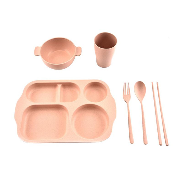6PCS/set Innovative Kid's Wheat Straw Tableware Compartment Grid Children's Dinner Tableware Plate Bowl Cup Fork Spoon Chopstick