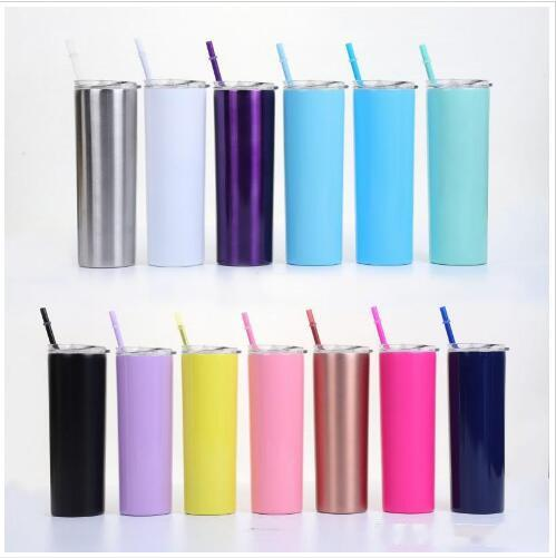 Skinny Straight Cups Repeatable Stainless Steel Mug Double Layer Vacuum Insulated Cups Portable Coffee Mugs Lid Straws Set CLS735