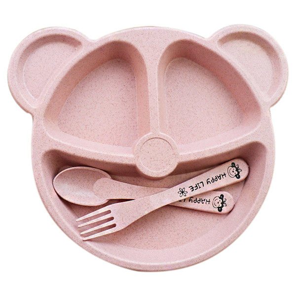 Baby bowl+spoon + fork Feeding Tableware Cartoon Panda Kids Dishes Baby Eating Dinnerware Set Anti-hot Training Bowl Spoo