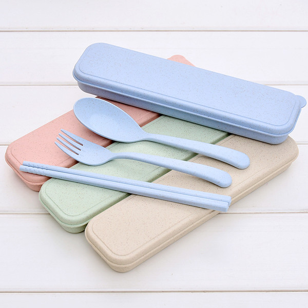 Nordic Style wheatstraw portable tableware travel dinnerware Eco-friendly dinner set Environmental Case Fork Spoon Set Cutlery