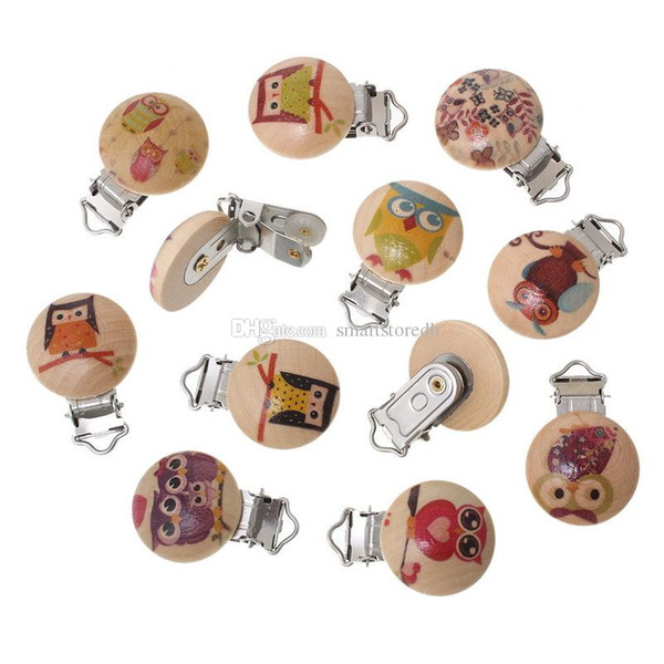 Wood Pacifier Clip Round At Random Animal Pattern 4.3x2.9cm Multi-Color L00079 FASH