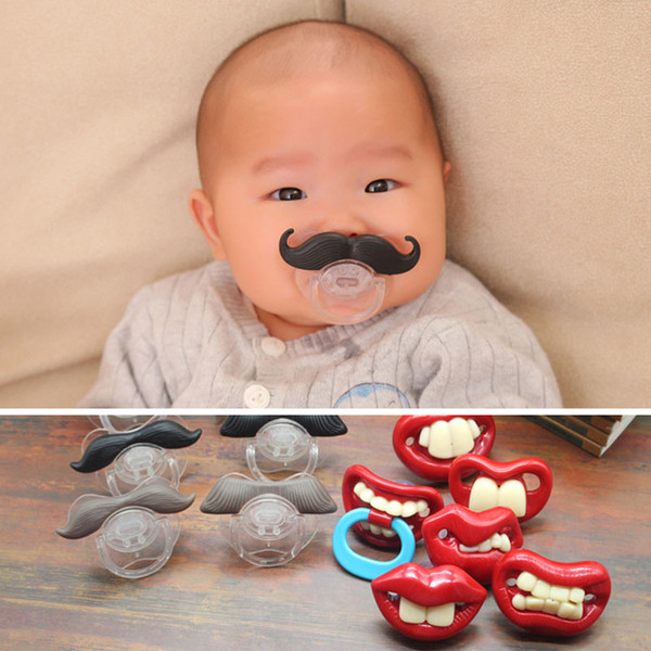 eClouds Cute Useful Funny Novelty Teeth Children Beard Mustache Baby Pacifier Infant Silicone Pacifier 14 Type DHL Free