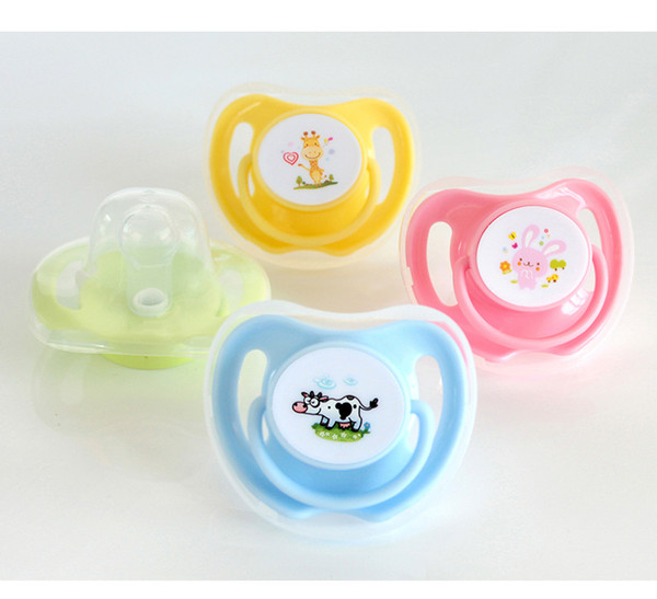 2018 New Baby pacifier Silica gel Round flat safe and non-toxic Do not fade four colors