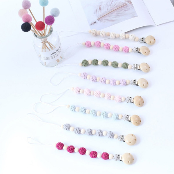 Hot Newborn Baby Teething Pacifier Clips Wooden Beads Personalized Pacifier Chain for Dummy Feeding Clip