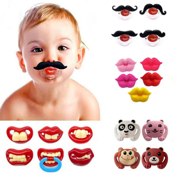 Baby Tooth Pacifiers 37 Styles Kids Silicone Funny Mustache Dummy Nipple Teethers Toddler Pacifier Tools OOA6361