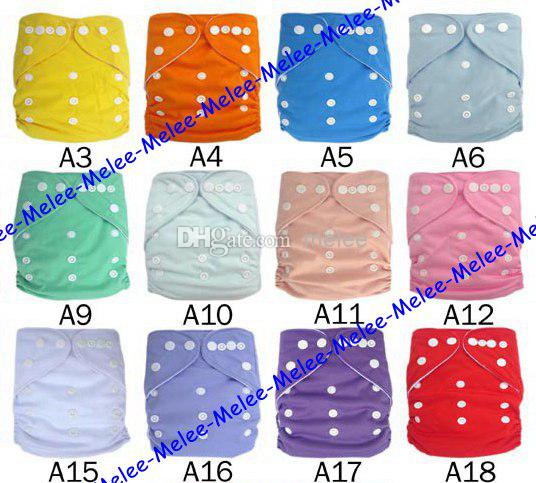 23 Color Choose Baby Cloth Diapers Plain Color Baby Diaper Covers & 3Layers Microfiber Inserts 100Pc=50set=50pc diapers + 50pc inserts Melee