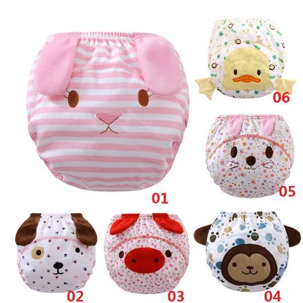 Lovely Carton Reusable Nappies Cloth Diapers Baby Diapers For Newborns Cotton Muslin Washable Diaper Training Pants